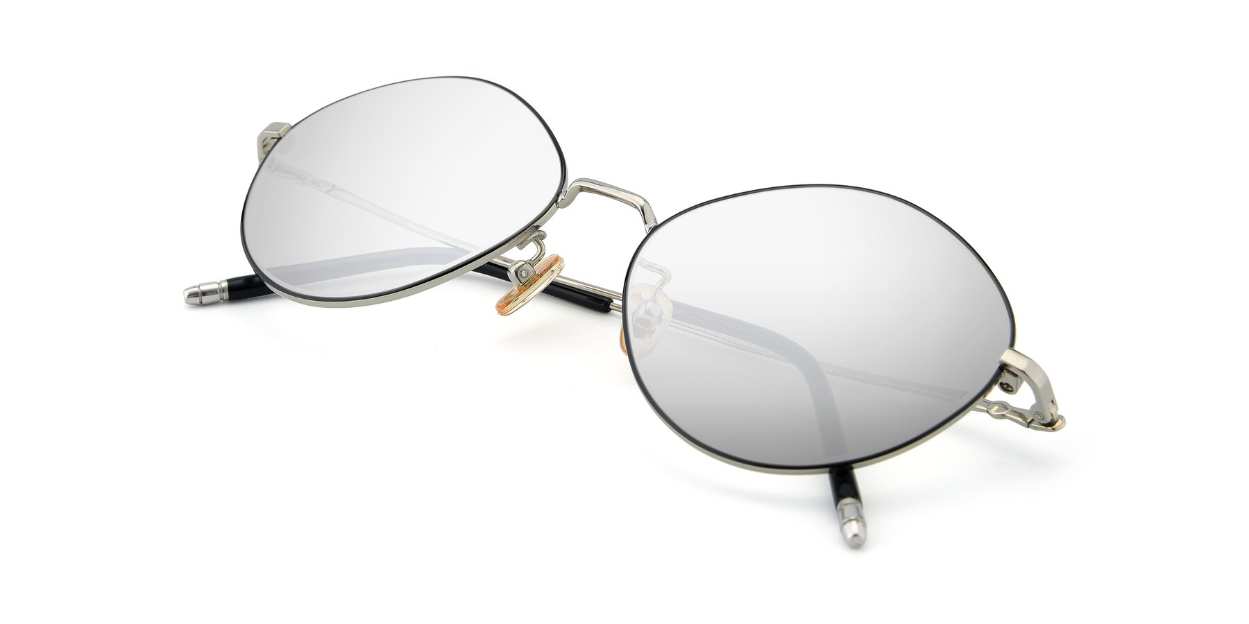 View of 90029 in Black-Silver with Silver Mirrored Lenses