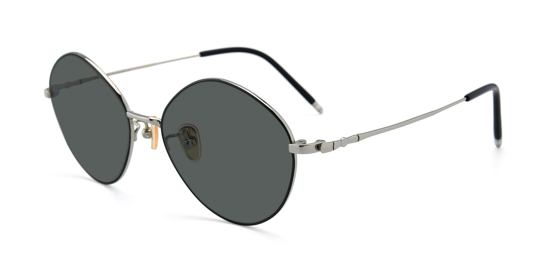 Angle of 90029 in Black-Silver with Gray Polarized Lenses
