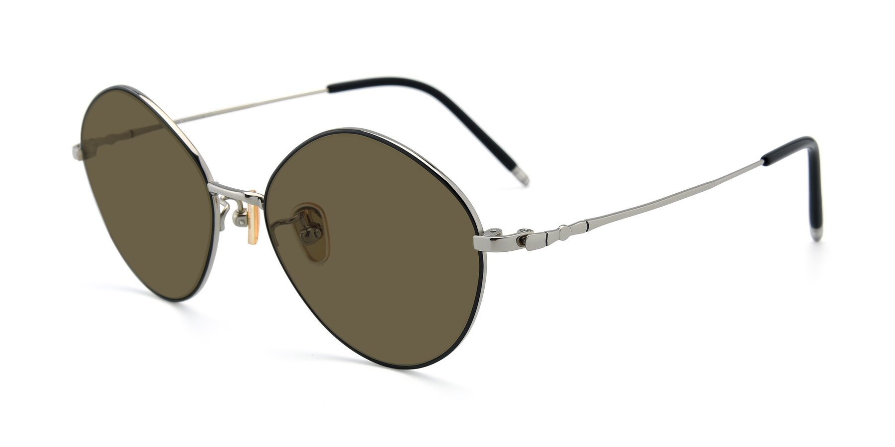 Angle of 90029 in Black-Silver with Brown Polarized Lenses