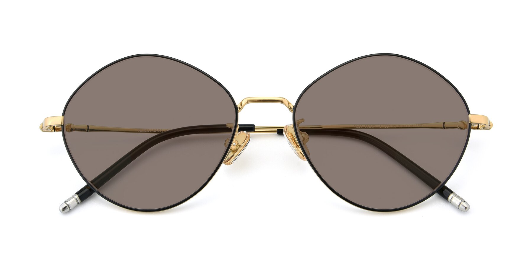 Folded Front of 90029 in Black-Gold with Medium Brown Tinted Lenses