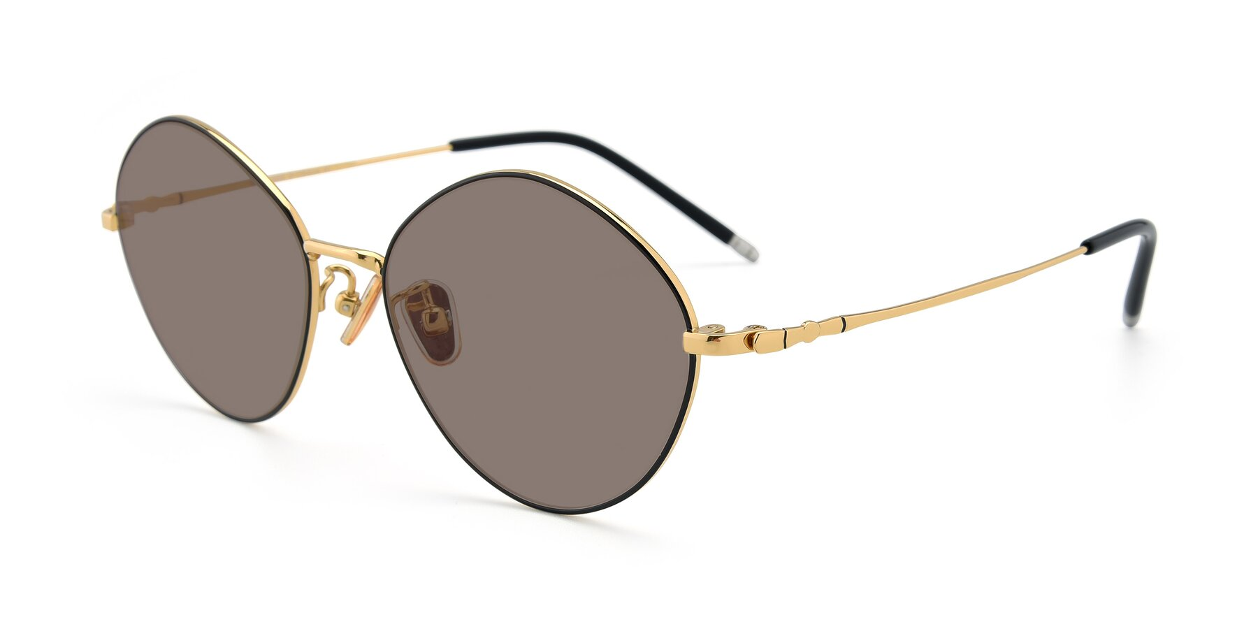 Angle of 90029 in Black-Gold with Medium Brown Tinted Lenses