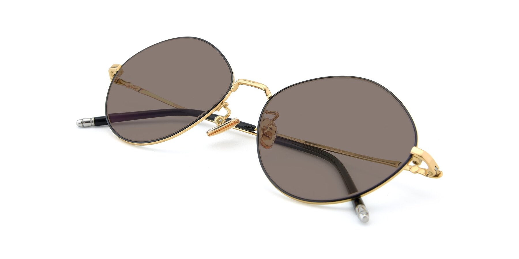 View of 90029 in Black-Gold with Medium Brown Tinted Lenses