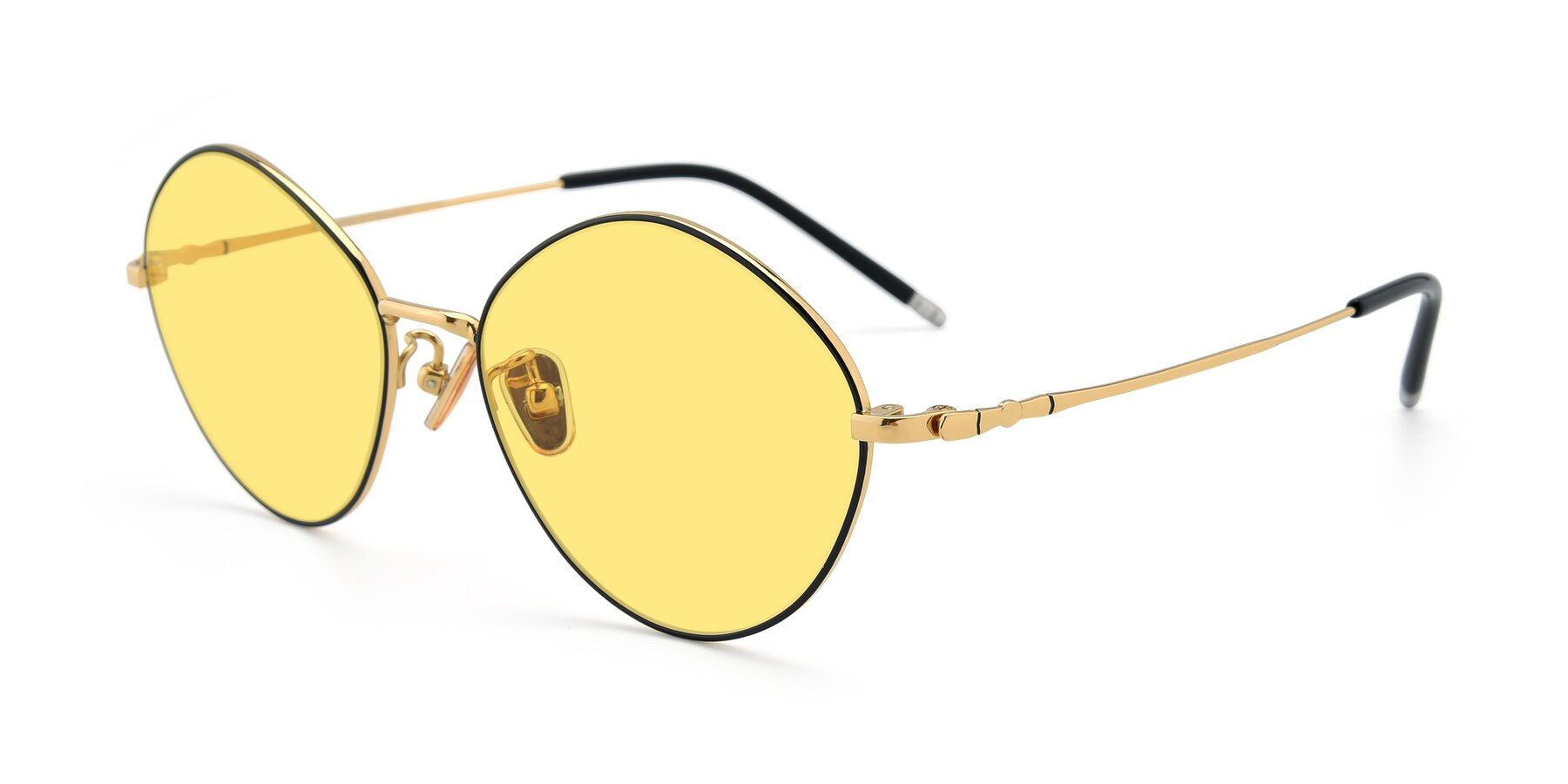 Angle of 90029 in Black-Gold with Medium Yellow Tinted Lenses