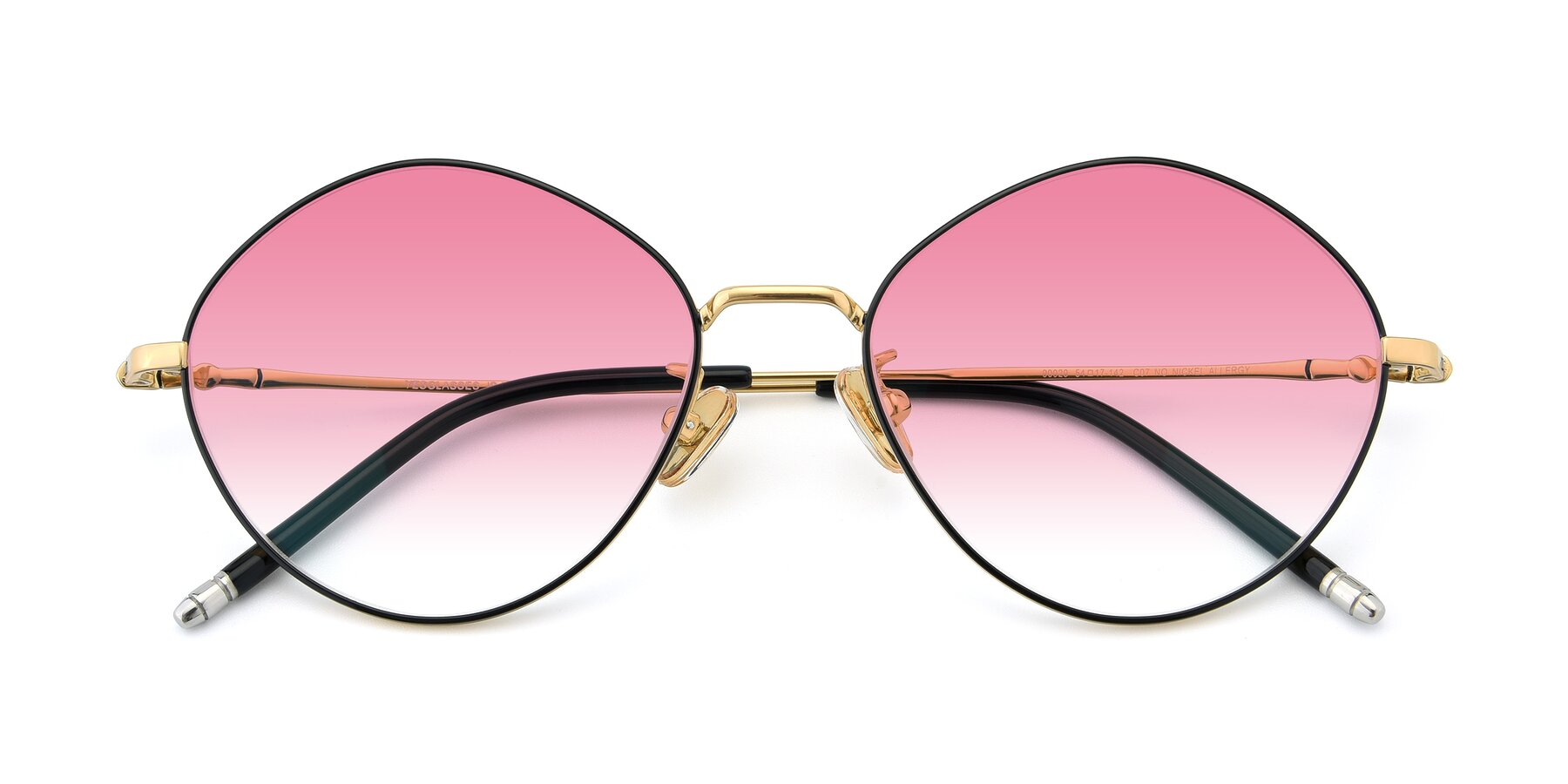 Folded Front of 90029 in Black-Gold with Pink Gradient Lenses