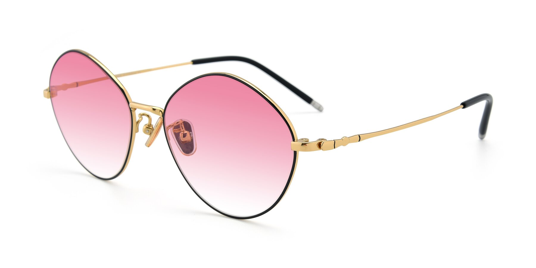 Angle of 90029 in Black-Gold with Pink Gradient Lenses