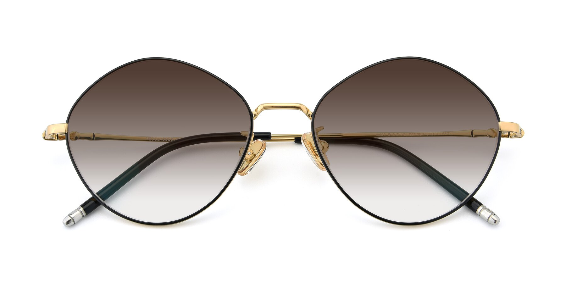 Folded Front of 90029 in Black-Gold with Brown Gradient Lenses
