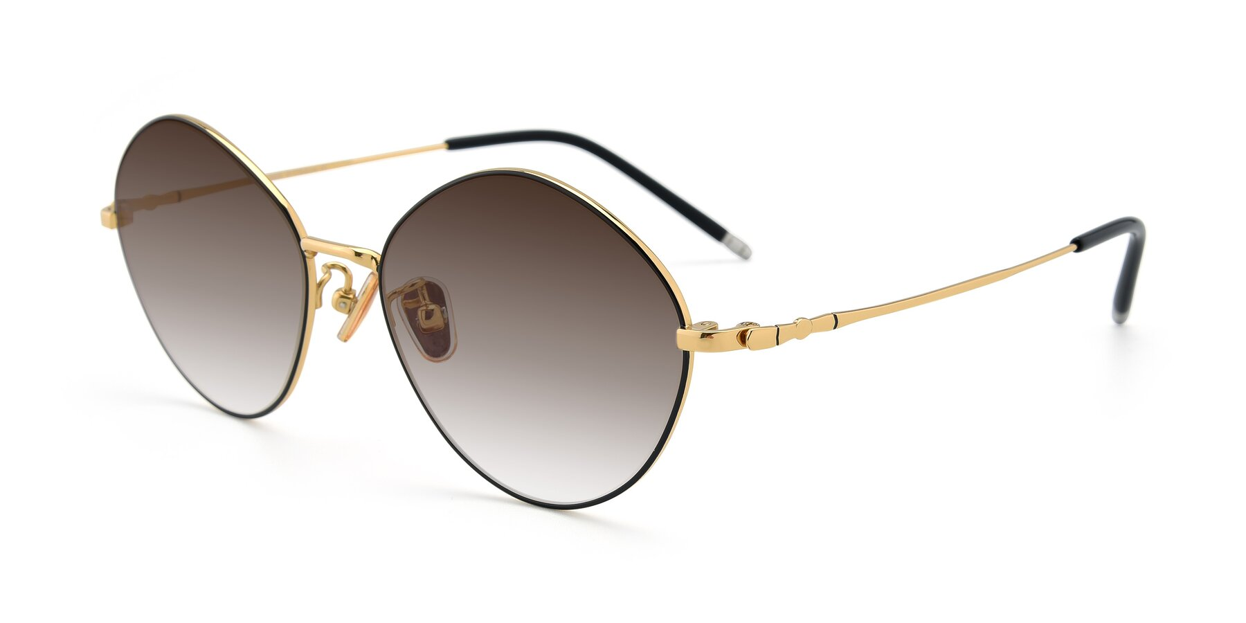 Angle of 90029 in Black-Gold with Brown Gradient Lenses