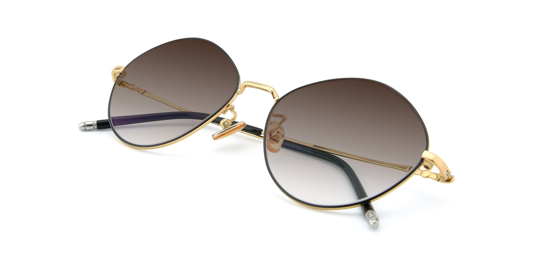 View of 90029 in Black-Gold with Brown Gradient Lenses