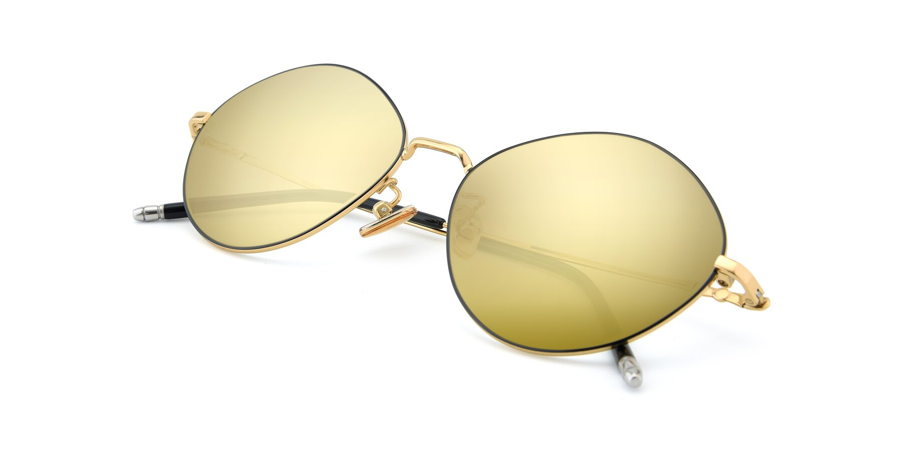 View of 90029 in Black-Gold with Gold Mirrored Lenses