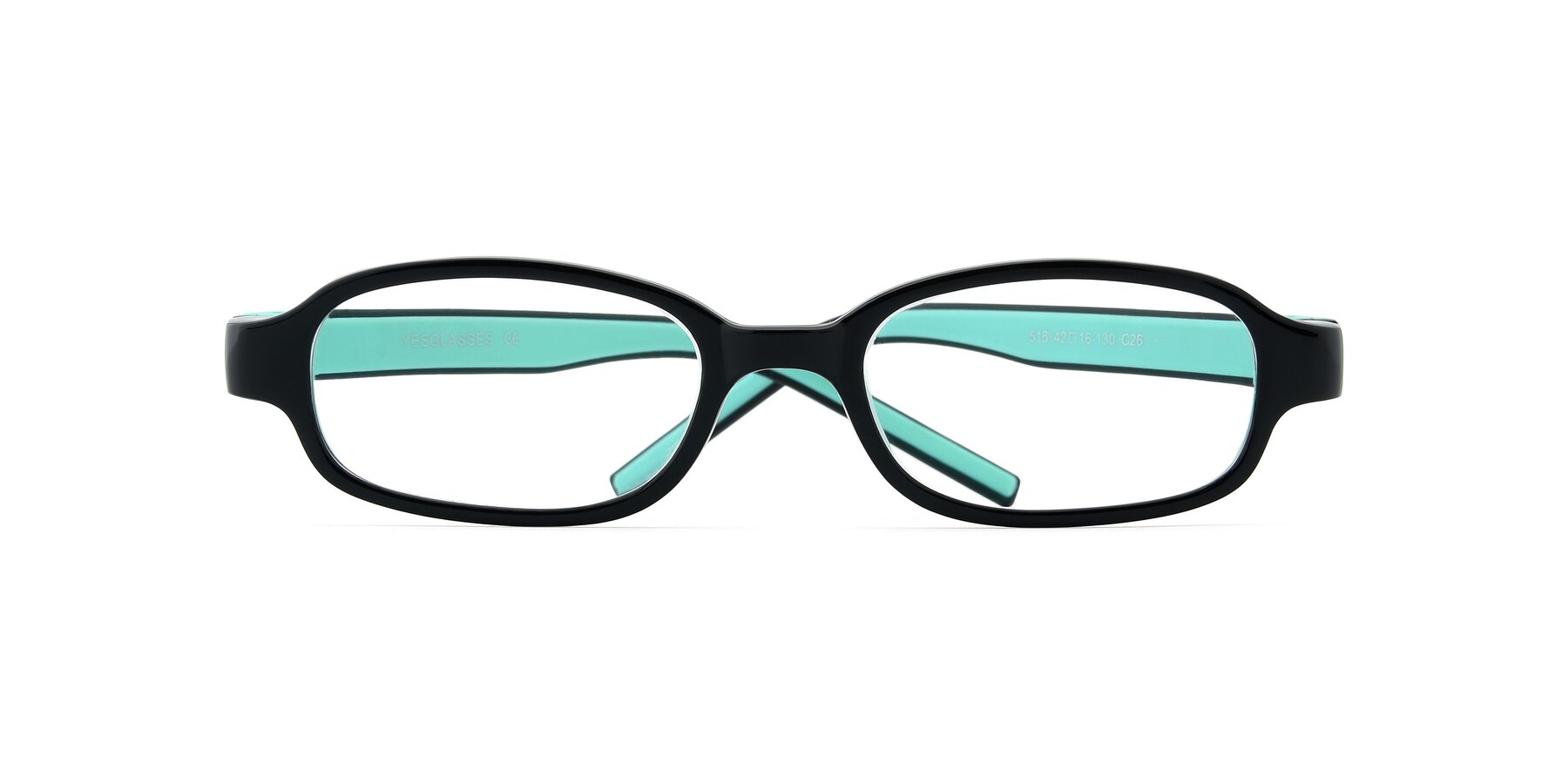 Folded Front of 515 in Black-Green with Clear Eyeglass Lenses