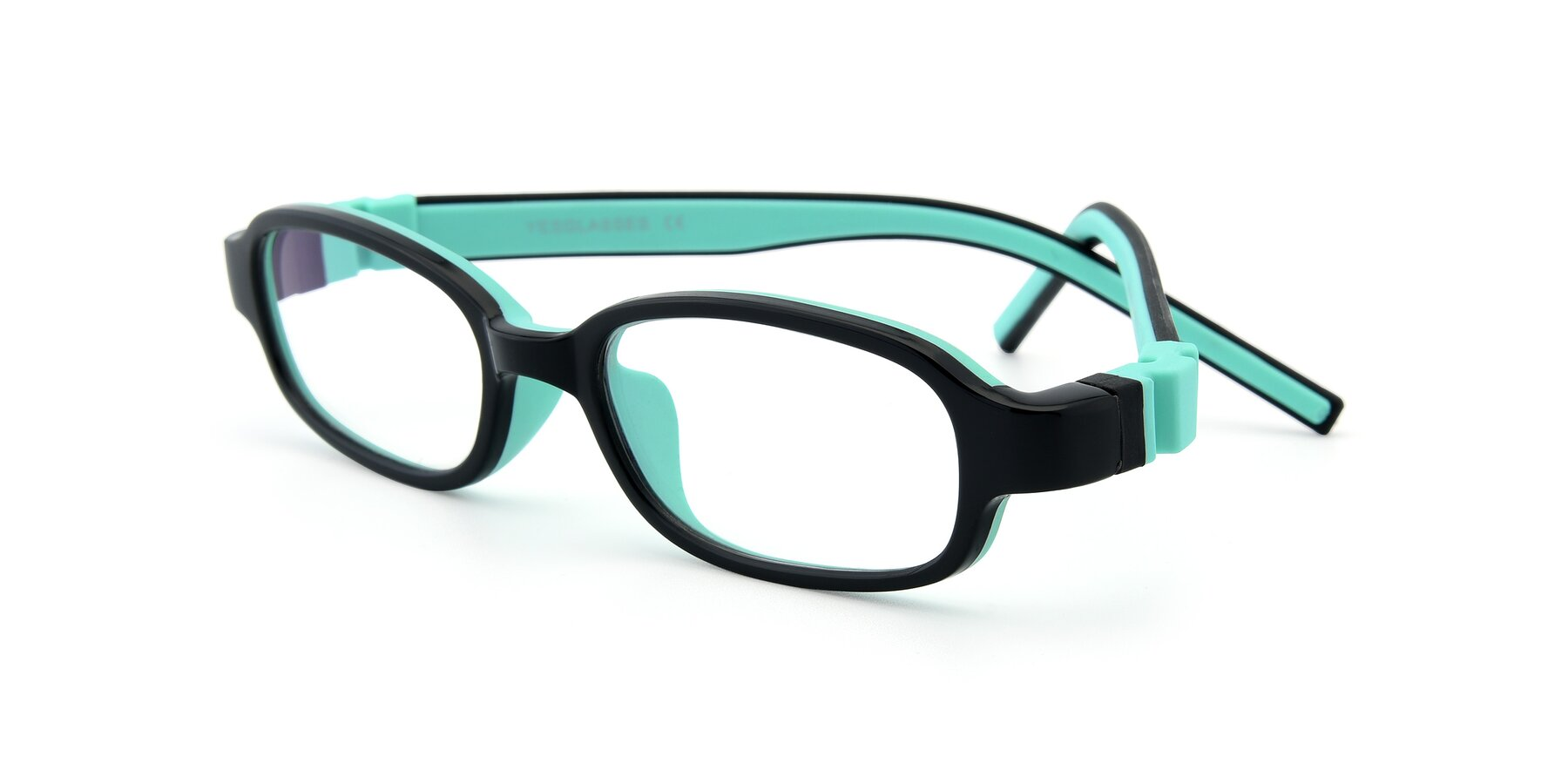 Angle of 515 in Black-Green with Clear Eyeglass Lenses