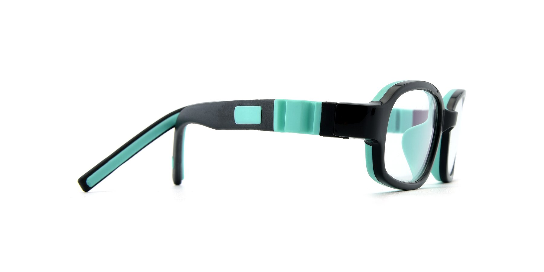 Side of 515 in Black-Green with Clear Eyeglass Lenses
