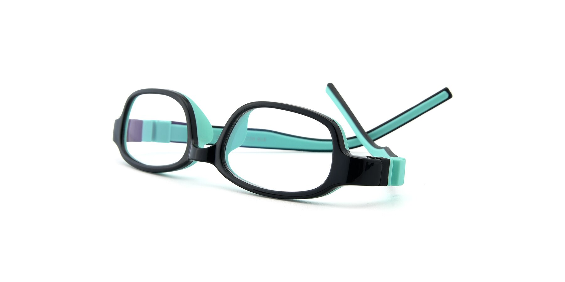 View of 515 in Black-Green with Clear Eyeglass Lenses