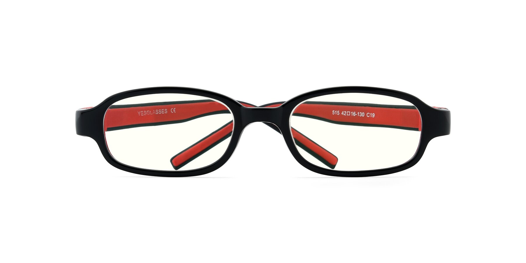 Folded Front of 515 in Black-Red with Clear Blue Light Blocking Lenses