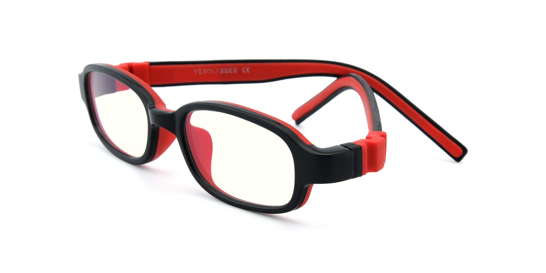 Angle of 515 in Black-Red with Clear Blue Light Blocking Lenses