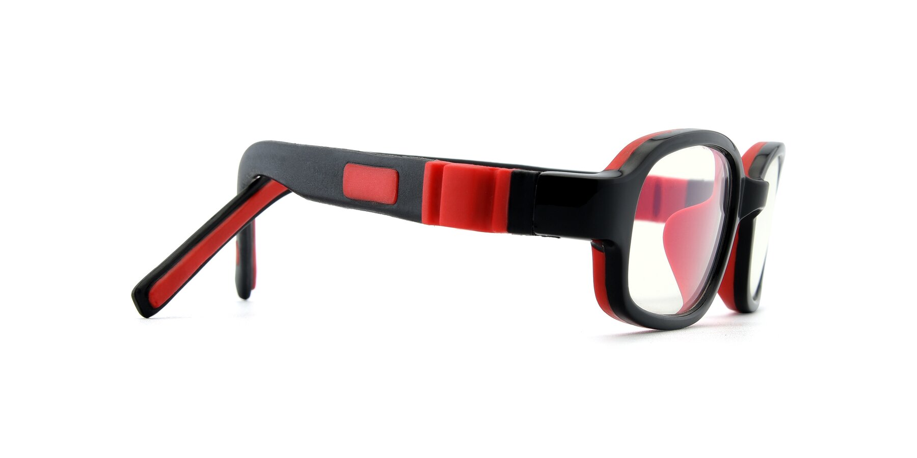 Side of 515 in Black-Red with Clear Blue Light Blocking Lenses