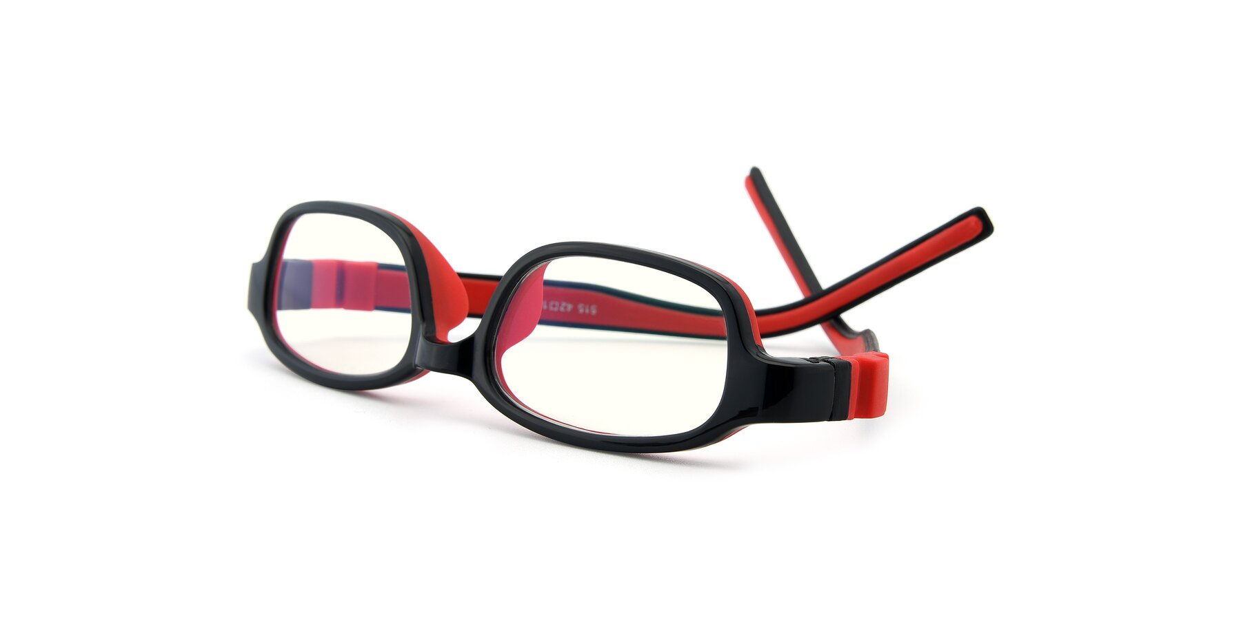 View of 515 in Black-Red with Clear Blue Light Blocking Lenses