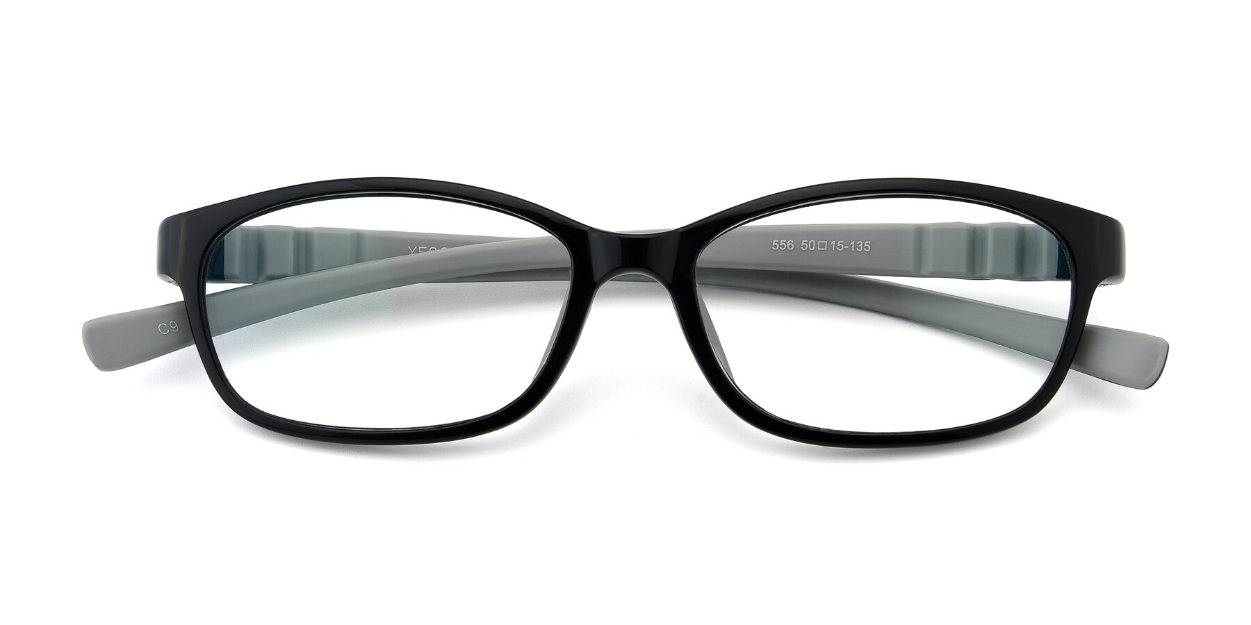 Folded Front of 556 in Black-Gray with Clear Eyeglass Lenses
