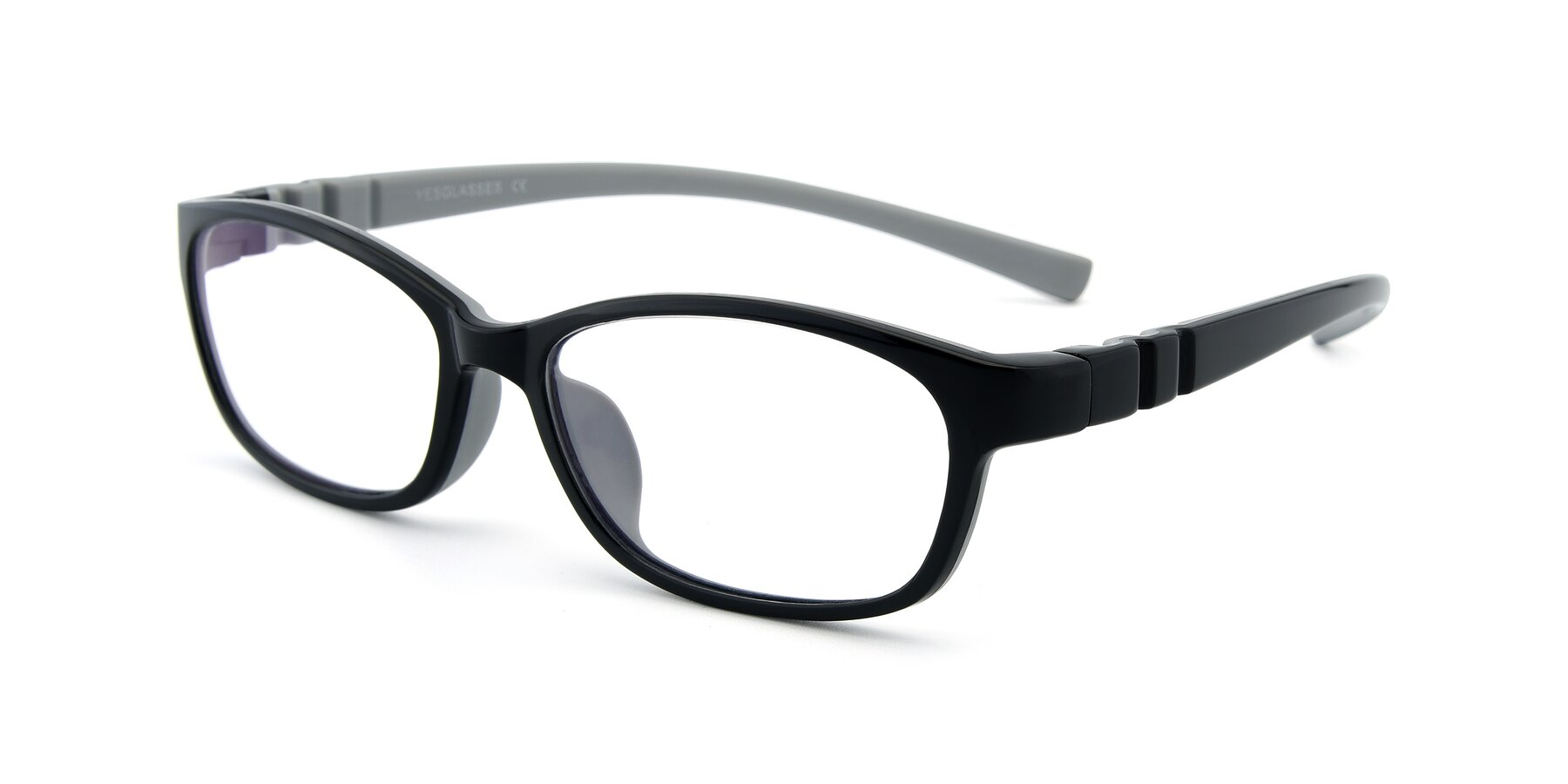 Angle of 556 in Black-Gray with Clear Eyeglass Lenses
