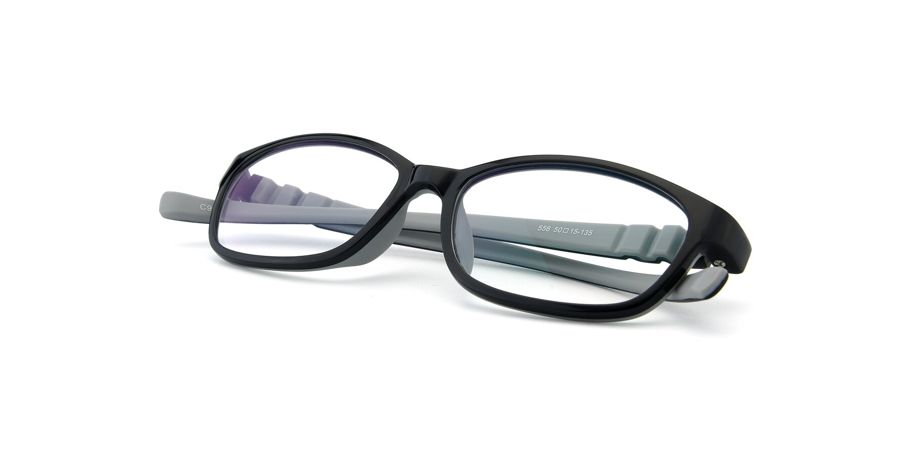 View of 556 in Black-Gray with Clear Eyeglass Lenses