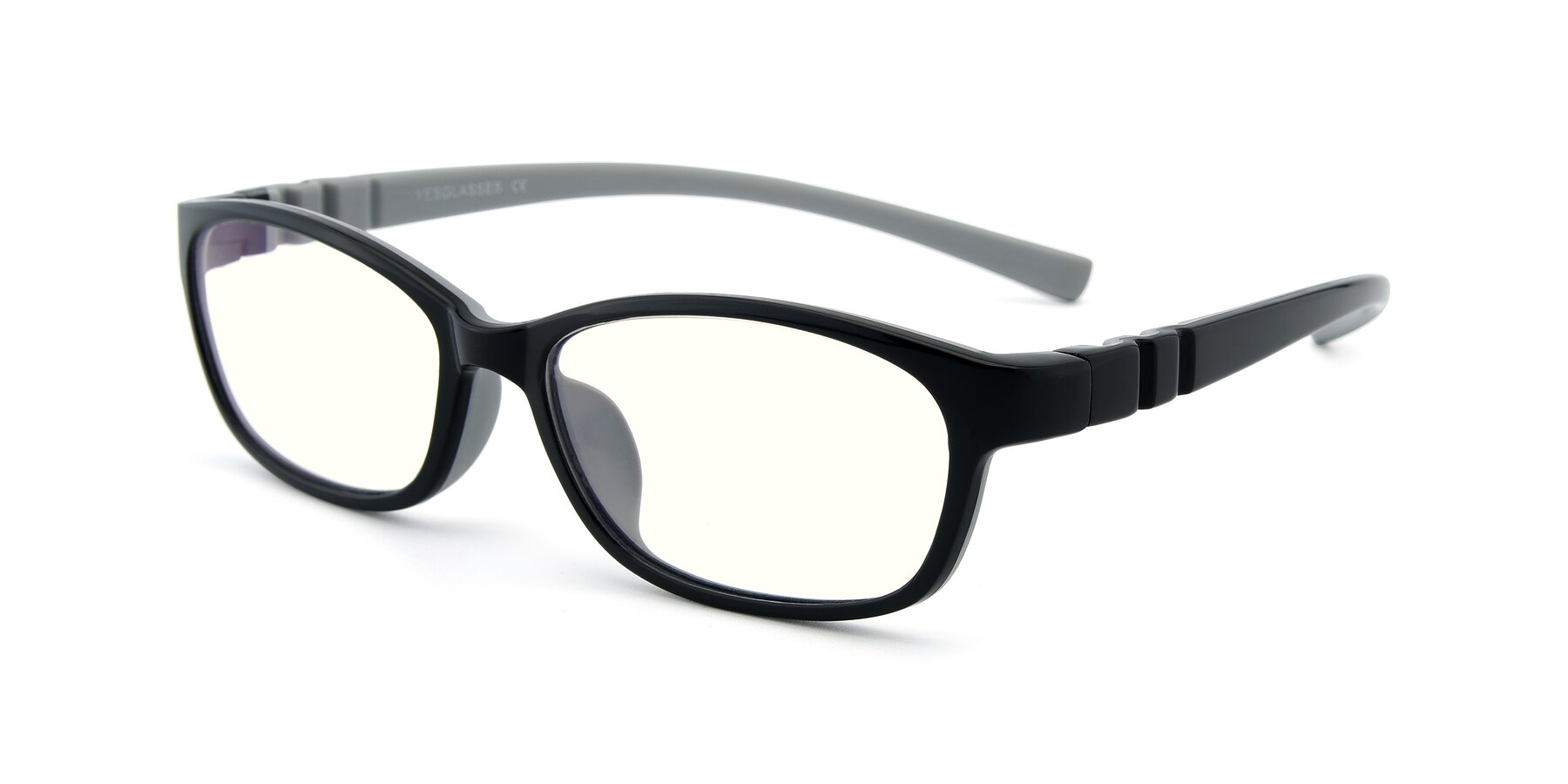 Angle of 556 in Black-Gray with Clear Blue Light Blocking Lenses