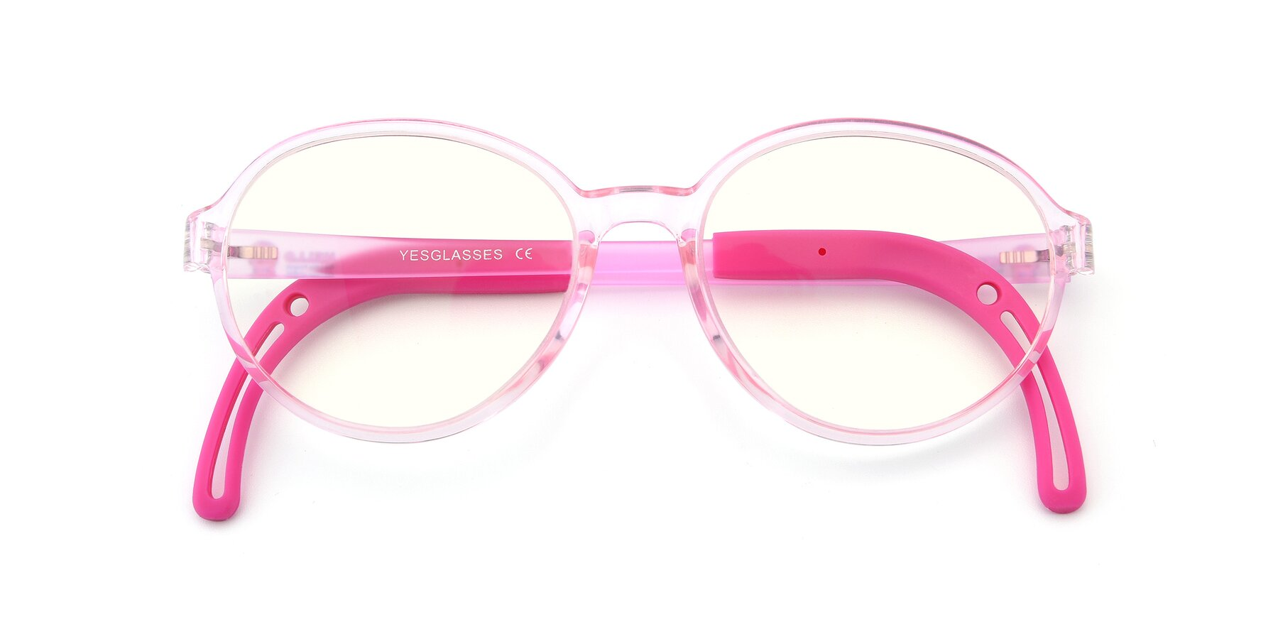 Folded Front of 1020 in Tranparent Pink with Clear Blue Light Blocking Lenses