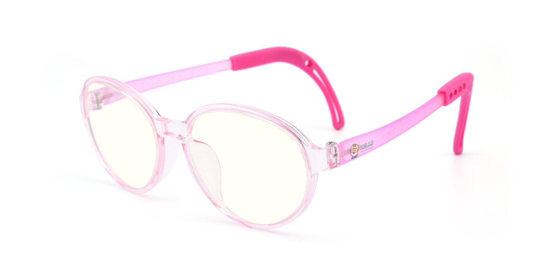 Angle of 1020 in Tranparent Pink with Clear Blue Light Blocking Lenses