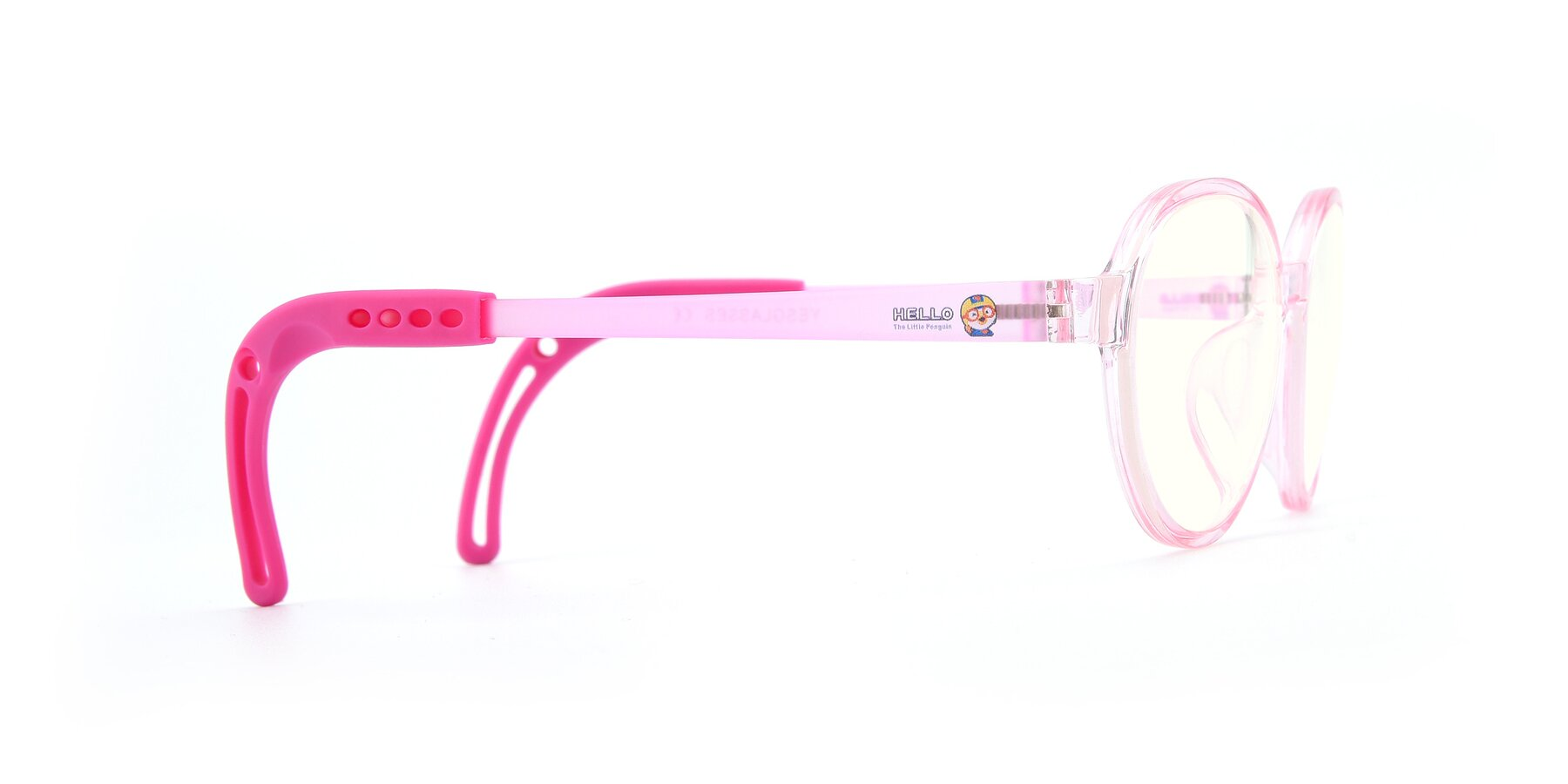 Side of 1020 in Tranparent Pink with Clear Blue Light Blocking Lenses