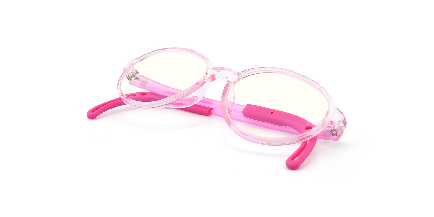 View of 1020 in Tranparent Pink with Clear Blue Light Blocking Lenses
