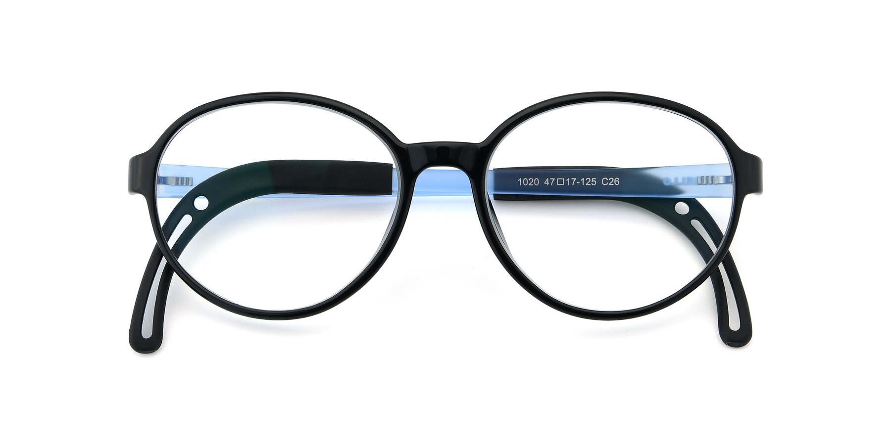 Folded Front of 1020 in Black-Blue with Clear Eyeglass Lenses