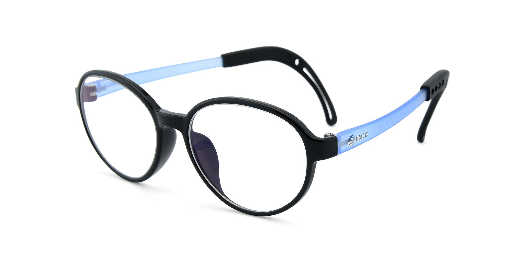 Angle of 1020 in Black-Blue with Clear Eyeglass Lenses