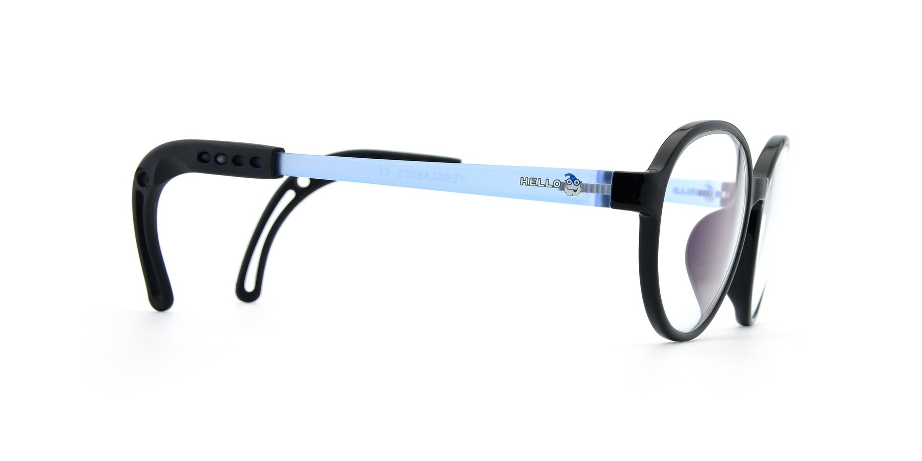 Side of 1020 in Black-Blue with Clear Eyeglass Lenses