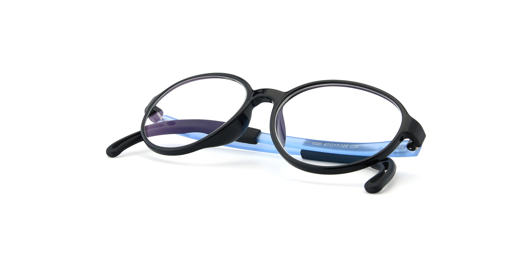 View of 1020 in Black-Blue with Clear Eyeglass Lenses