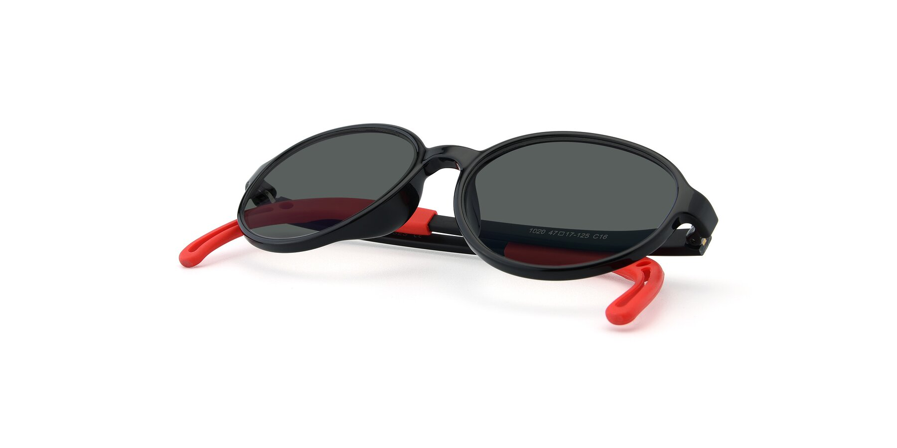 View of 1020 in Black-Red with Gray Polarized Lenses