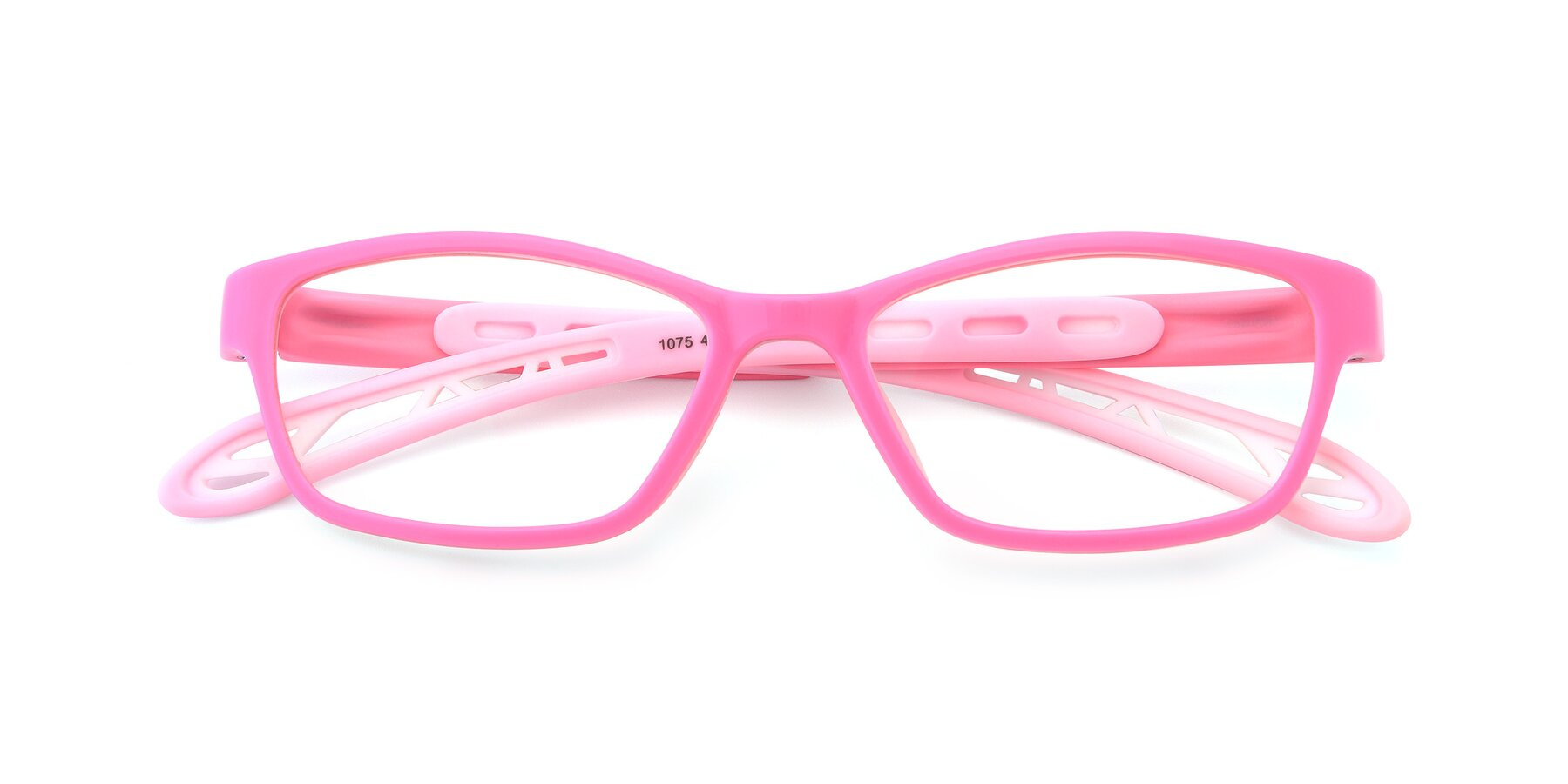 Folded Front of 1075 in Pink with Clear Eyeglass Lenses