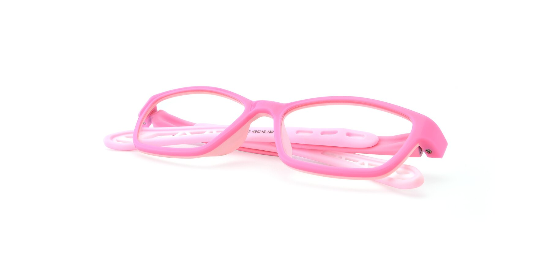 View of 1075 in Pink with Clear Eyeglass Lenses