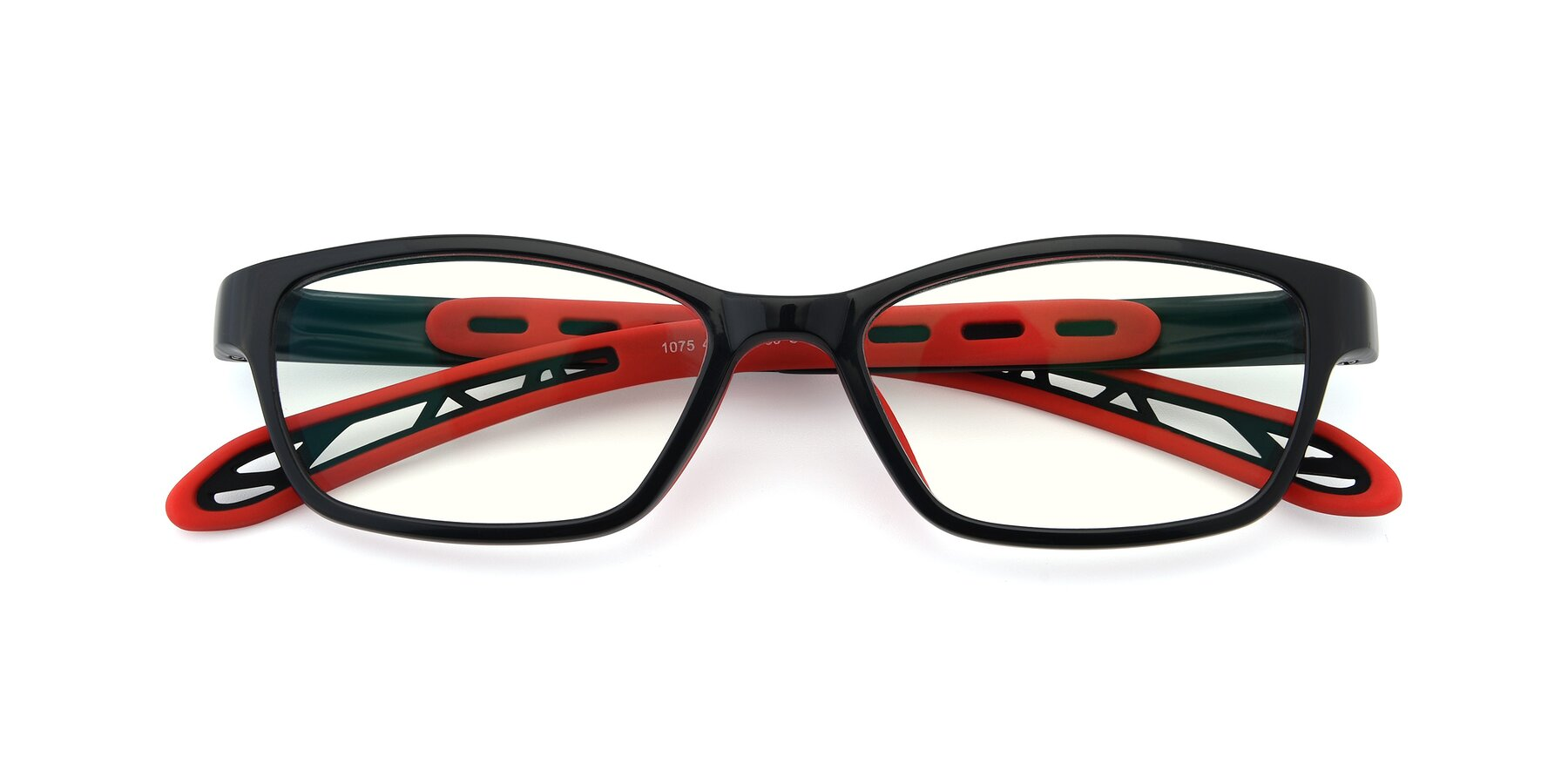 Folded Front of 1075 in Black-Red with Clear Blue Light Blocking Lenses