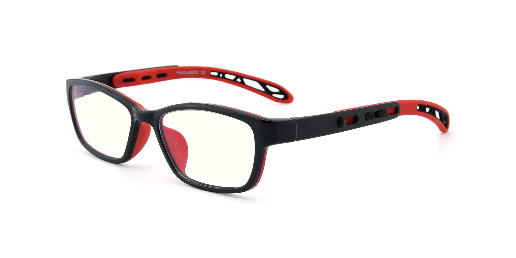 Angle of 1075 in Black-Red with Clear Blue Light Blocking Lenses