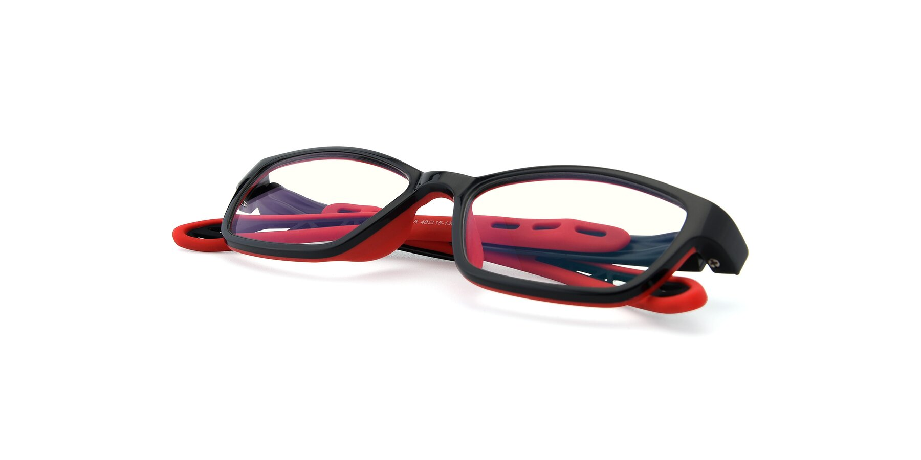 View of 1075 in Black-Red with Clear Blue Light Blocking Lenses