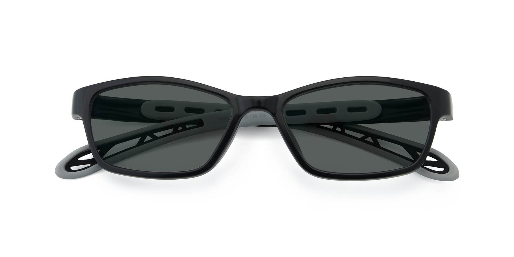 Folded Front of 1075 in Black-Gray with Gray Polarized Lenses