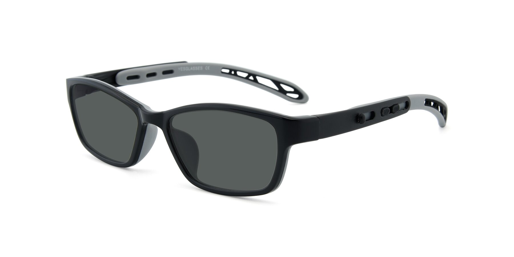 Angle of 1075 in Black-Gray with Gray Polarized Lenses