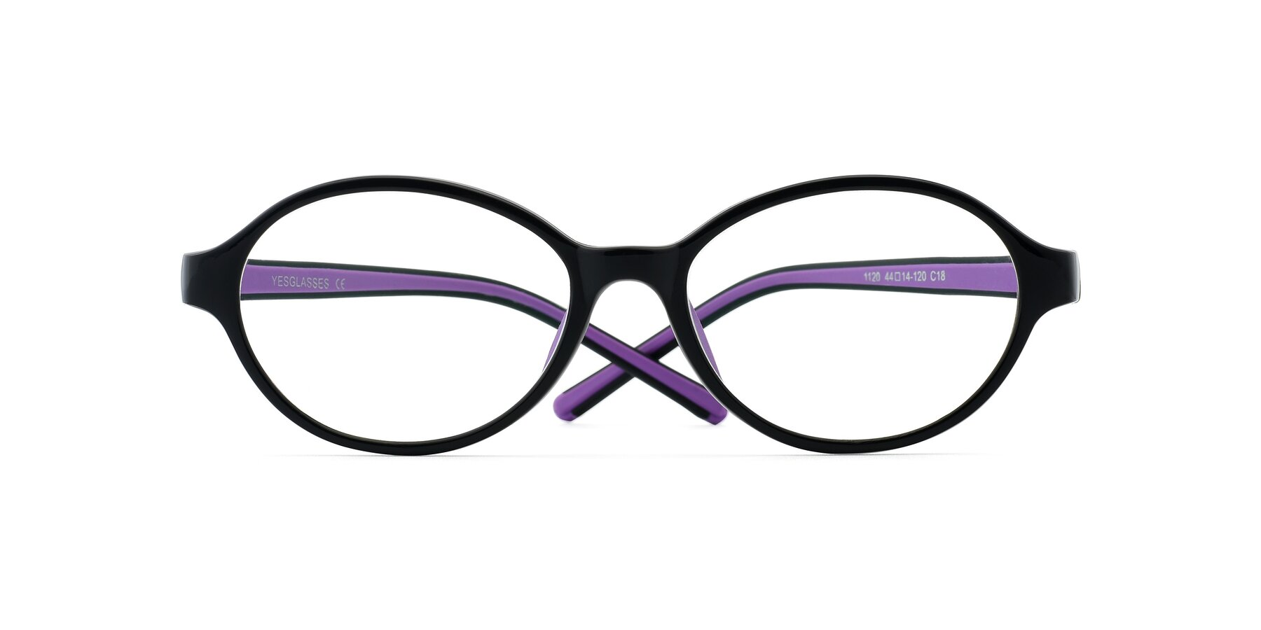Folded Front of 1120 in Black-Purple with Clear Eyeglass Lenses