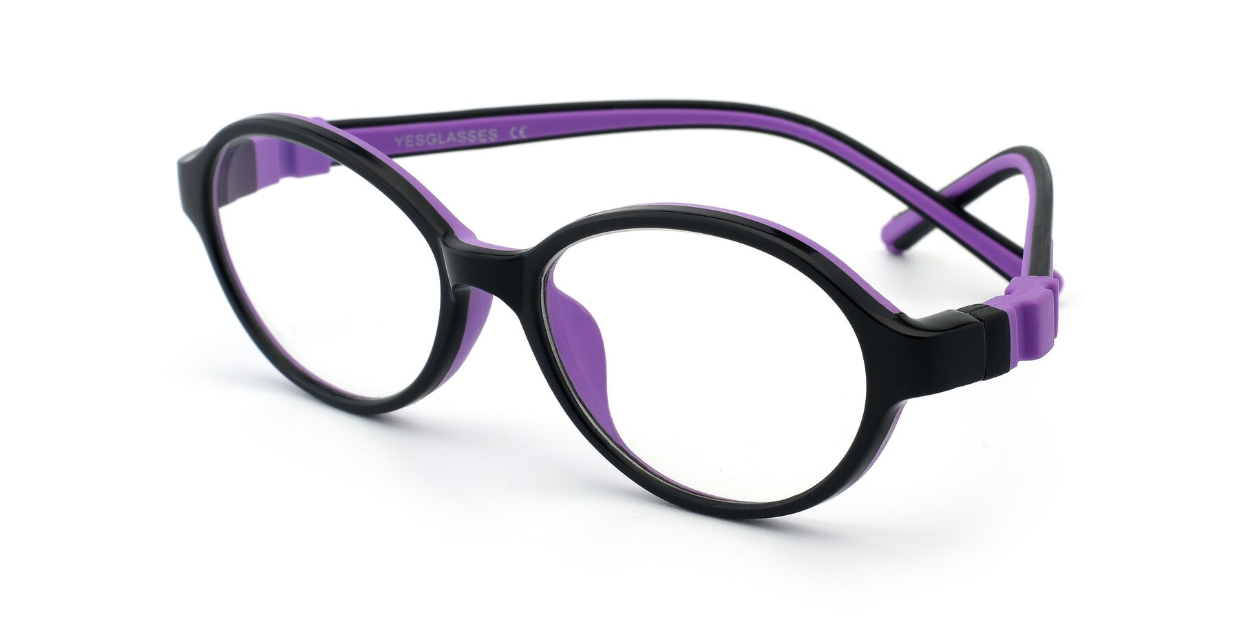 Angle of 1120 in Black-Purple with Clear Eyeglass Lenses