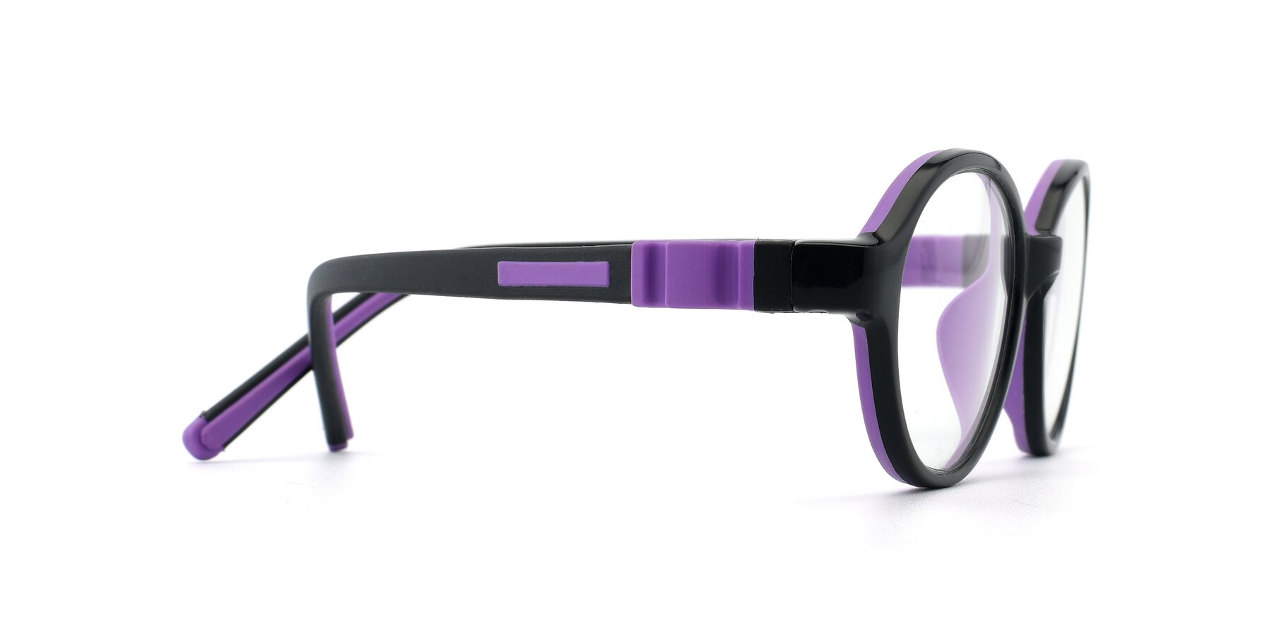 Side of 1120 in Black-Purple with Clear Eyeglass Lenses