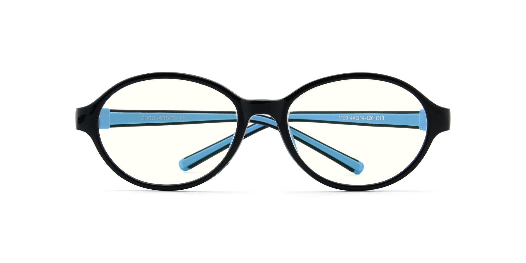 Folded Front of 1120 in Black-Blue with Clear Blue Light Blocking Lenses
