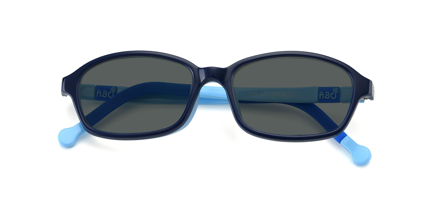 Folded Front of 533 in Black-Blue with Gray Polarized Lenses