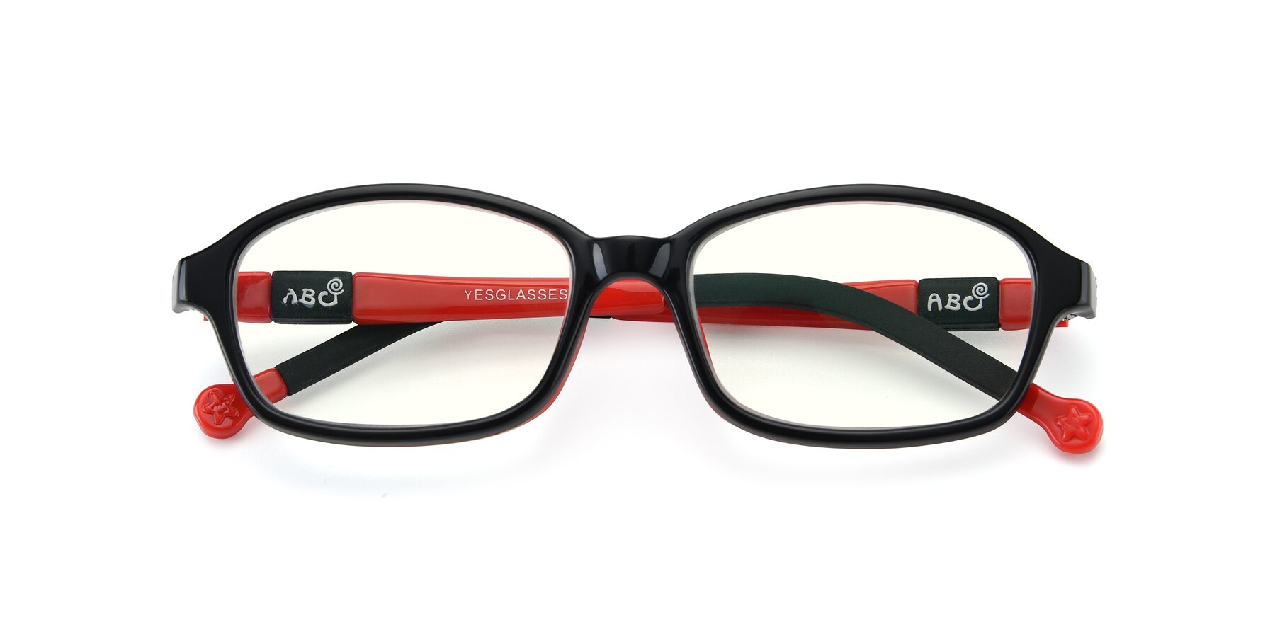 Folded Front of 533 in Black-Red with Clear Blue Light Blocking Lenses