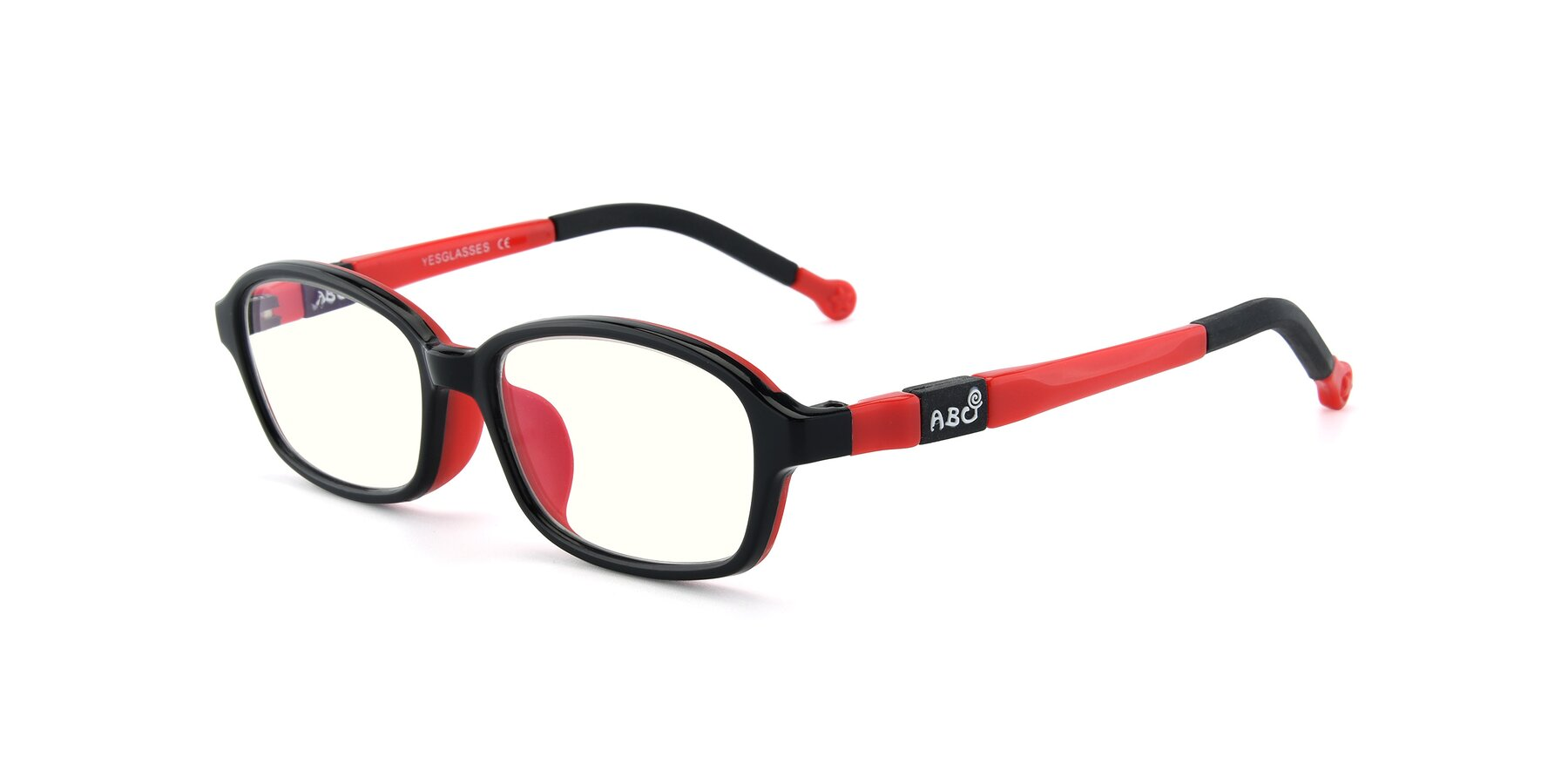 Angle of 533 in Black-Red with Clear Blue Light Blocking Lenses