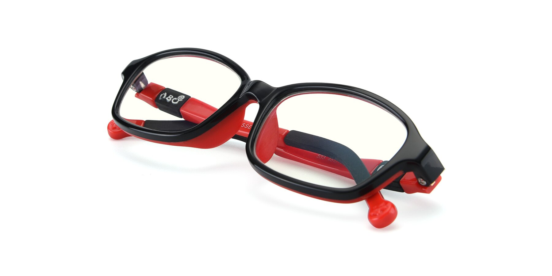 View of 533 in Black-Red with Clear Blue Light Blocking Lenses
