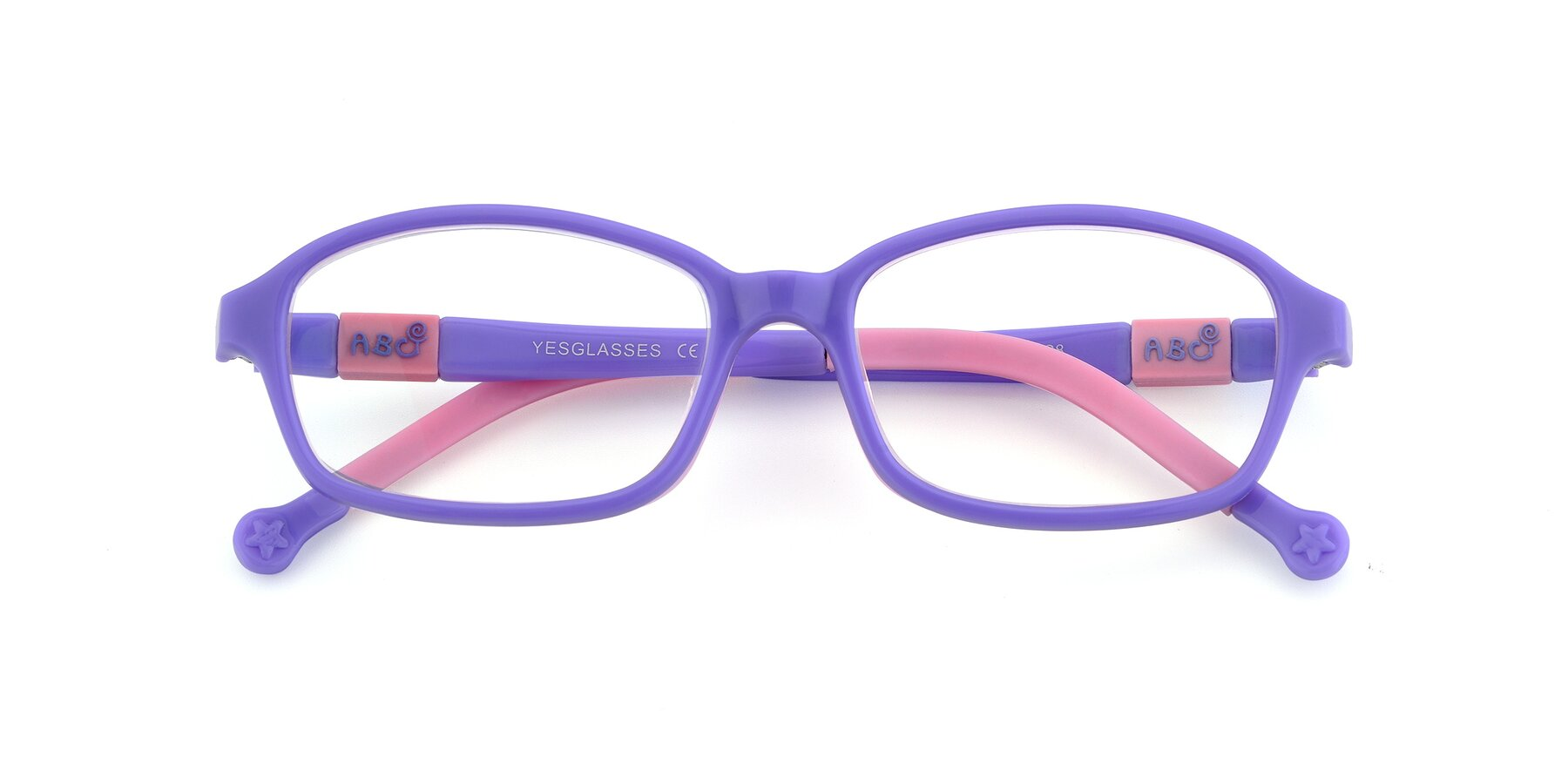 Folded Front of 533 in Purple-Pink with Clear Eyeglass Lenses